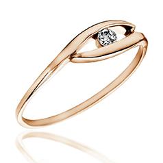 Inel de Logodna Solitaire Dama Aur Roz 14kt cu Diamant Rotund Briliant