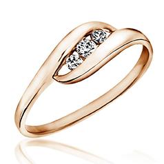 Inel de Logodna cu 3 Diamante Dama Aur Roz 14kt cu 3 Diamante Rotunde