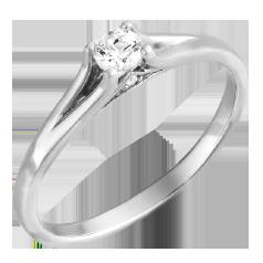 Inel de Logodna Solitaire Dama Aur Alb 14kt cu un Briliant Rotund Setat cu Gheare si 2 Diamante Mici