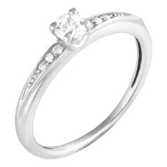 Inel de Logodna Solitaire cu Diamante Mici pe Lateral Dama Aur Alb 14kt cu Diamant Central Rotund Briliant si Diamante Rotund Briliant pe Margini