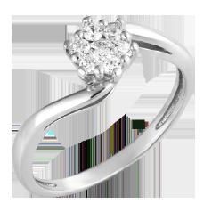 Inel de Logodna Cluster cu Mai Multe Diamante Dama Aur Alb 14kt cu 7 Diamante Rotund Briliant, Inel Twist