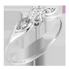 Inel de Logodna Cluster cu Diamante Laterale Dama Aur Alb 14kt cu 9 Briliante Rotunde in Setare Gheare