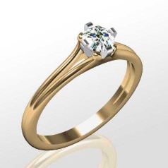 Inel de Logodna Solitaire Dama Aur Galben & Aur Alb 14kt cu un Diamant Rotund Briliant Setat cu Gheare