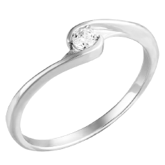 Inel de Logodna Solitaire Dama Aur Alb 14kt cu Diamant Rotund Briliant in Setare Rub-Over in Stoc