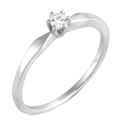 Inel de Logodna Solitaire Dama Aur Alb 14kt cu Diamant Rotund Briliant in 6 Gheare in Stoc