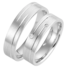 Set de Verighete Aur Alb 14kt cu 2 Diamante Rotund Briliant si Finisaj Periat, Profil Plat Interior Rotunjit