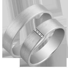 Set de Verighete Aur Alb 14kt cu 4 Diamante Rotund Briliant, Profil Plat Finisaj Periat