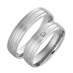 Set de Verighete Aur Alb 14kt cu un Diamant Rotund Briliant, Profil Rotunjit