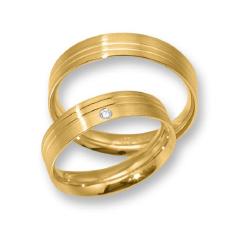Set de Verighete Aur Galben 14kt cu un Diamant Rotund Briliant, Profil Plat Finisaj Periat si 2 Canale Lustruite