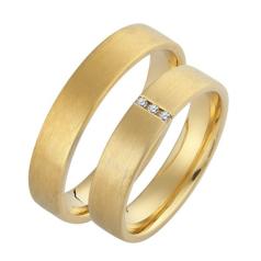 Set de Verighete din Aur Galben 14kt cu 3 Diamante Rotund Briliant Profil Plat, Finisaj Periat
