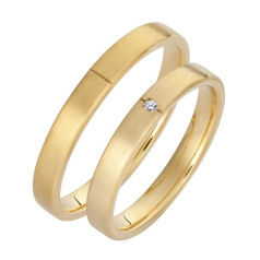 Set de Verighete din Aur Galben 14kt cu un Diamant Rotund Briliant, Profil Plat Interior Rotunjit