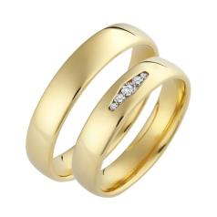 Set de Verighete din Aur Galben 14kt cu 5 Diamante Rotund Briliant, Profil Plat Interior Rotunjit
