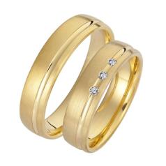 Set de Verighete din Aur Galben 14kt cu 3 Diamante Rotund Briliant, Profil Plat Finisaj Periat