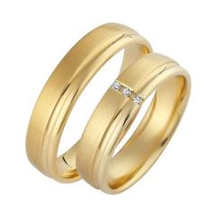 Set de Verighete din Aur Galben 14kt cu 3 Diamante Rotund Briliant, Profil Rotunjit