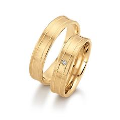 Set de Verighete din Aur Galben 14kt cu un Diamant Rotund Briliant, Finisaj Periat Canal Lustruit