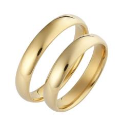 Set de Verighete Simple din Aur Galben 14kt Profil Rotunjit, Finisaj Lustruit
