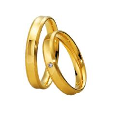 Set de Verighete Aur Galben 14kt cu un Diamant Rotund Briliant, Margini Ridicate