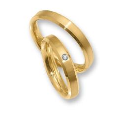 Set de Verighete din Aur Galben 14kt cu un Diamant Rotund Briliant, Profil Plat Margini Tesite