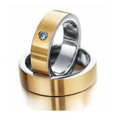 Set de Verighete din Aur Galben si Aur Alb de 14kt cu un Diamant Rotund Briliant, Profil Plat Finisaj Periat