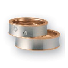 Set de Verighete din Aur Alb si Aur Roz de 14kt cu 2 Diamante Rotund Briliant cu Profil Plat, Finisaj Periat si Margini Lustruite