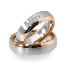 Set de Verighete din Aur Alb si Aur Roz de 14kt cu 6 Diamante Rotund Briliant Setare Rub Over, Profil Rotunjit