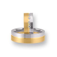 Set de Verighete din Aur Galben si Aur Alb de 14kt cu 4 Diamante Rotund Briliant, Profil Plat