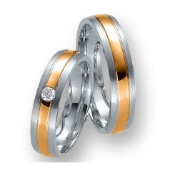 Set de Verighete din Aur Alb si Aur Roz de 14kt cu un Diamant Rotund Briliant Setare Rub Over, Profil Rotunjit