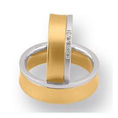 Set de Verighete din Aur Galben si Aur Alb de 14kt cu 5 Diamante Rotund Briliant, Profil Plat, Margini Usor Ridicate