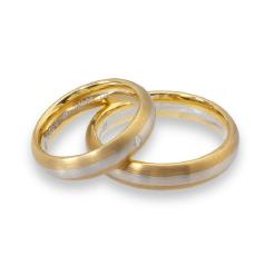 Set de Verighete din Aur Galben si Aur Alb de 14kt cu un Diamant Rotund Briliant, Profil Rotunjit