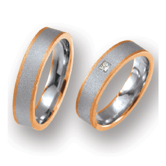 Set de Verighete din Aur Alb si Aur Roz de 14kt cu un Diamant Rotund Briliant, Profil Plat Finisaj Periat