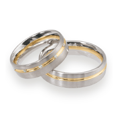 Set de Verighete din Aur Galben si Aur Alb de 14kt cu 6 Diamante Rotund Briliant, Profil Rotunjit Finisaj Periat