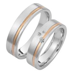 Set de Verighete din Aur Alb si Aur Roz de 14kt cu 3 Diamante Rotund Briliant, Profil Plat