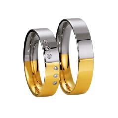 Set de Verighete din Aur Galben si Aur Alb de 14kt cu 6 Diamante Rotund Briliant in Setare Rub Over, Profil Plat