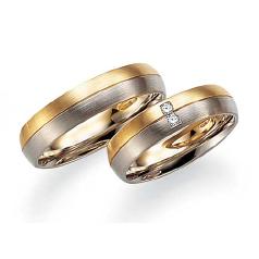 Set de Verighete din Aur Galben si Aur Alb de 14kt cu 2 Diamante Rotund Briliant, Profil Bombat Finisaj Periat