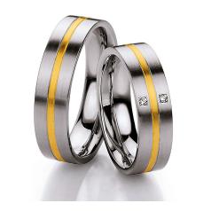Set de Verighete din Aur Galben si Aur Alb de 14kt cu 2 Diamante Rotund Briliant, Profil Plat si Interior Rotunjit