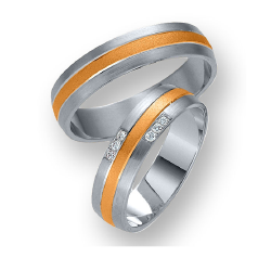 Set de Verighete din Aur Alb si Aur Roz de 14kt cu 6 Diamante Rotund Briliant, Profil Rotunjit