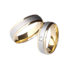 Set de Verighete din Aur Galben si Aur Alb de 14kt cu un Diamant Rotund Briliant Setare Rub Over, Profil Plat Interior Rotunjit
