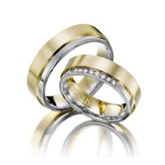 Set de Verighete din Aur Galben si Aur Alb de 14kt cu 9 Diamante Rotund Briliant, Profil Plat