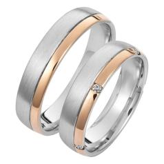 Set de Verighete din Aur Alb si Aur Roz de 14kt cu 5 Diamante Rotund Briliant, Profil Rotunjit