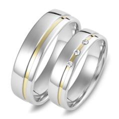 Set de Verighete din Aur Galben si Aur Alb de 14kt cu 3 Diamante Rotund Briliant, Profil Rotunjit Finisaj Lustruit