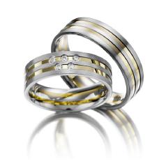 Set de Verighete din Aur Galben si Aur Alb de 14kt cu 5 Diamante Rotund Briliant, Profil Plat 2 Canale Lustruite