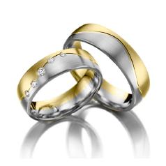 Set de Verighete din Aur Galben si Aur Alb de 14kt cu 5 Diamante Rotund Briliant Setare Rub Over, Profil Rotunjit Finisaj Periat
