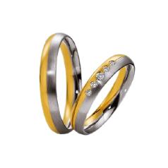 Set de Verighete din Aur Galben si Aur Alb de 14kt cu 5 Diamante Rotund Briliant Setare Rub Over, Profil Rotunjit