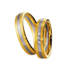 Set de Verighete din Aur Galben si Aur Alb de 14kt cu 3 Diamante Rotund Briliant, Profil Plat Finisaj Periat