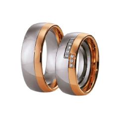 Set de Verighete din Aur Alb si Aur Roz de 14kt cu 8 Diamante Rotund Briliant, Profil si Interior Rotunjit