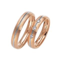 Set de Verighete din Aur Alb si Aur Roz de 14kt cu 3 Diamante Rotund Briliant Setare Rub Over, Profil Bombat
