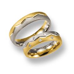 Set de Verighete din Aur Galben si Aur Alb de 14kt cu 7 Diamante Rotund Briliant Setare Rub Over, Profil Rotunjit Finisaj Periat