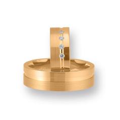Set de Verighete din Aur Roz 14kt cu 4 Diamante Rotund Briliant, Profil Plat Finisaj Lustruit si Periat
