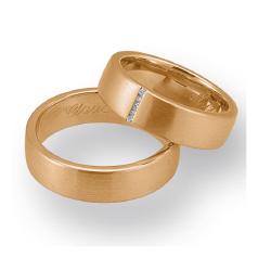 Set de Verighete din Aur Roz 14kt cu 5 Diamante Rotund Briliant, Profil Plat
