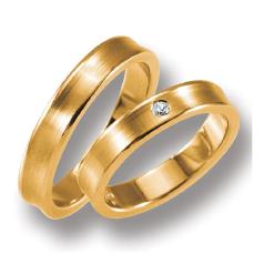 Set de Verighete din Aur Roz 14kt cu un Diamant Rotund Briliant, Finisaj Periat Margini Ridicate